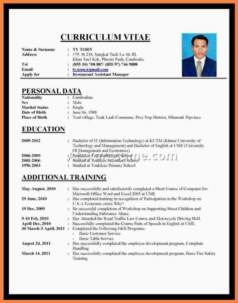 Cv Template Bahasa Indonesia - Resume Examples