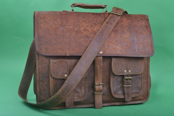 16 Inches Embossed Leather Messenger Bag A4 By Fashiondesignerbag 89 00