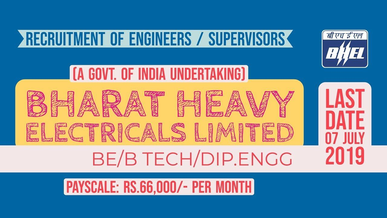 BHEL engineer recruitment 2019 Jobs for freshers