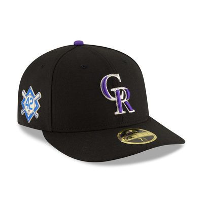 b826628ee6a Men s New Era Black Colorado Rockies 2018 Jackie Robinson Day Low Profile  59FIFTY Fitted Hat