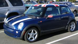 Navy Blue Mini Cooper With British Flags On The Roof And Mirrors White Stripes My Dream Car