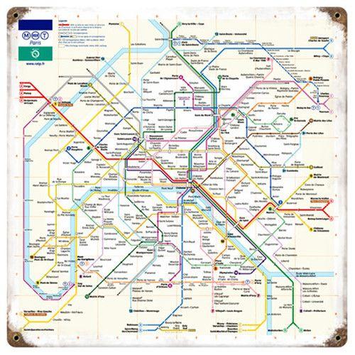 Subway Map Sign.Paris Metro Map Subway Sign Tin Metal Decor Vintage Antique Pr