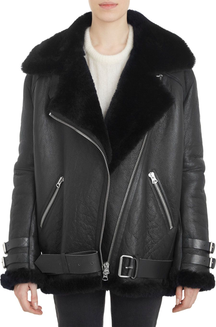 acne shearling leather jacket - Google Search | garments ...