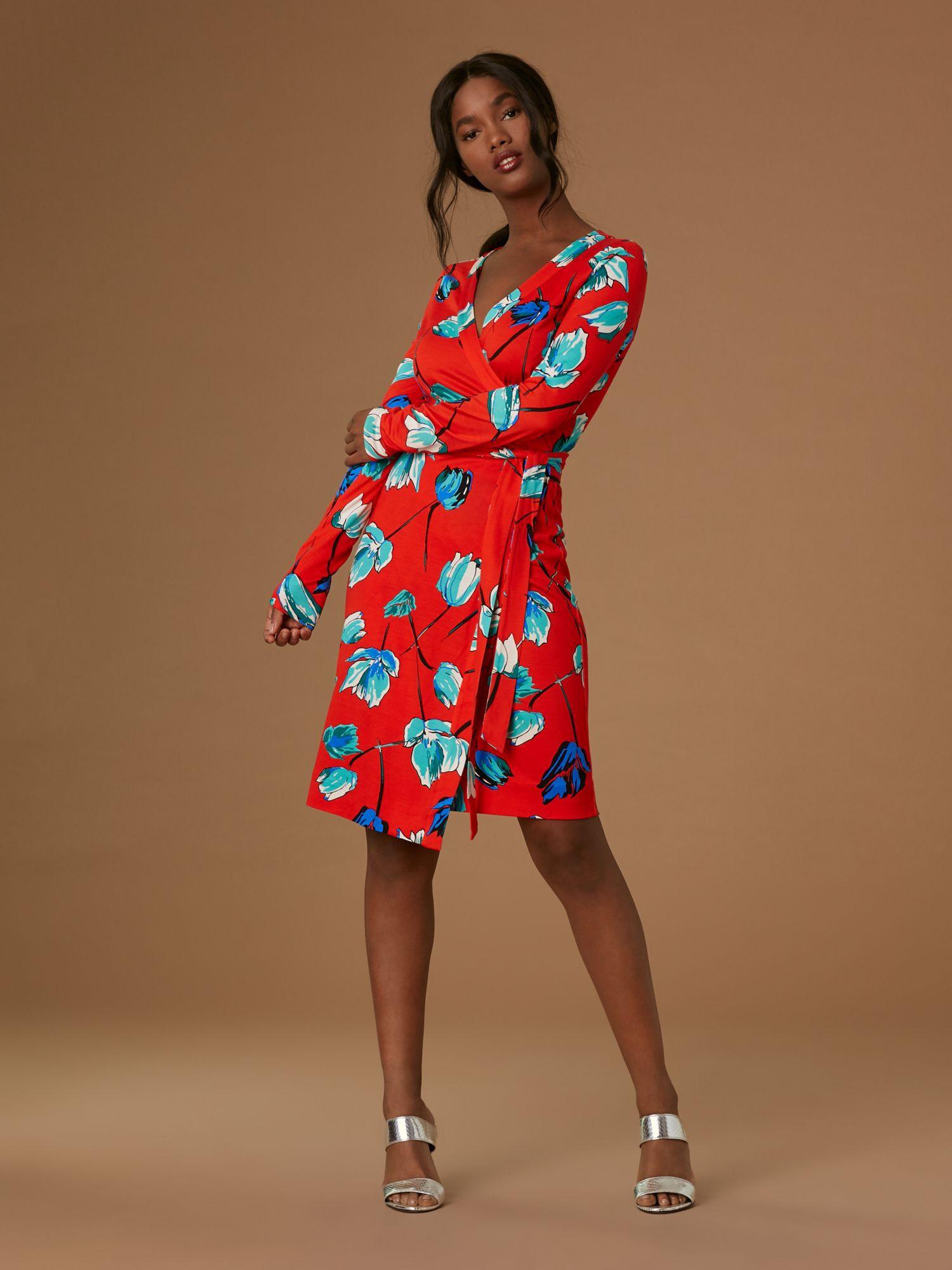 7303467ea5e3 Diane Von Furstenberg Dvf Julian Banded Silk Jersey Wrap Dress - Asher  Vermillion 10