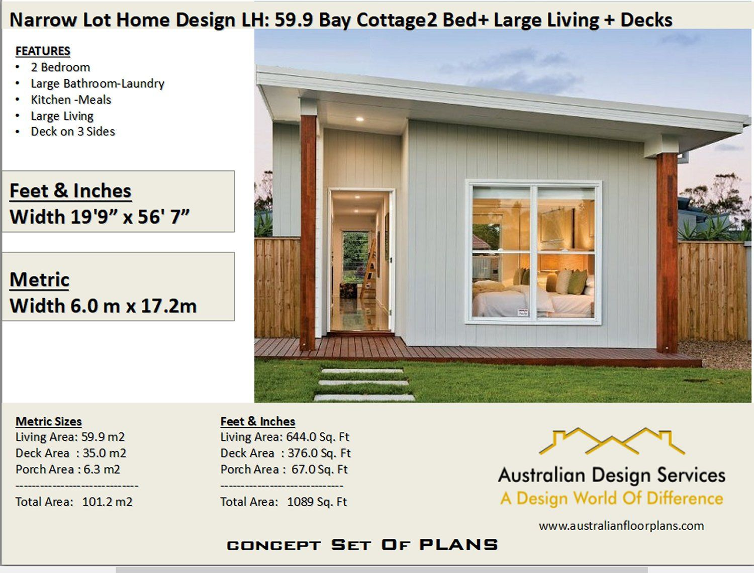 59 9 Bay Cottage 645 Sq Feet Or 59 9 M2 2 Bedroom 2 Bed Etsy House Plans For Sale Cottage House Plans House Plans