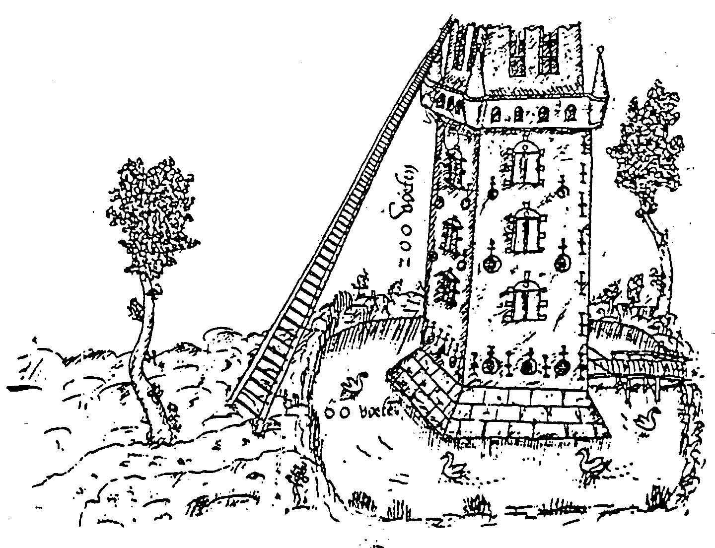 Peter van Halle, 1568 The length of a ladder is calculated