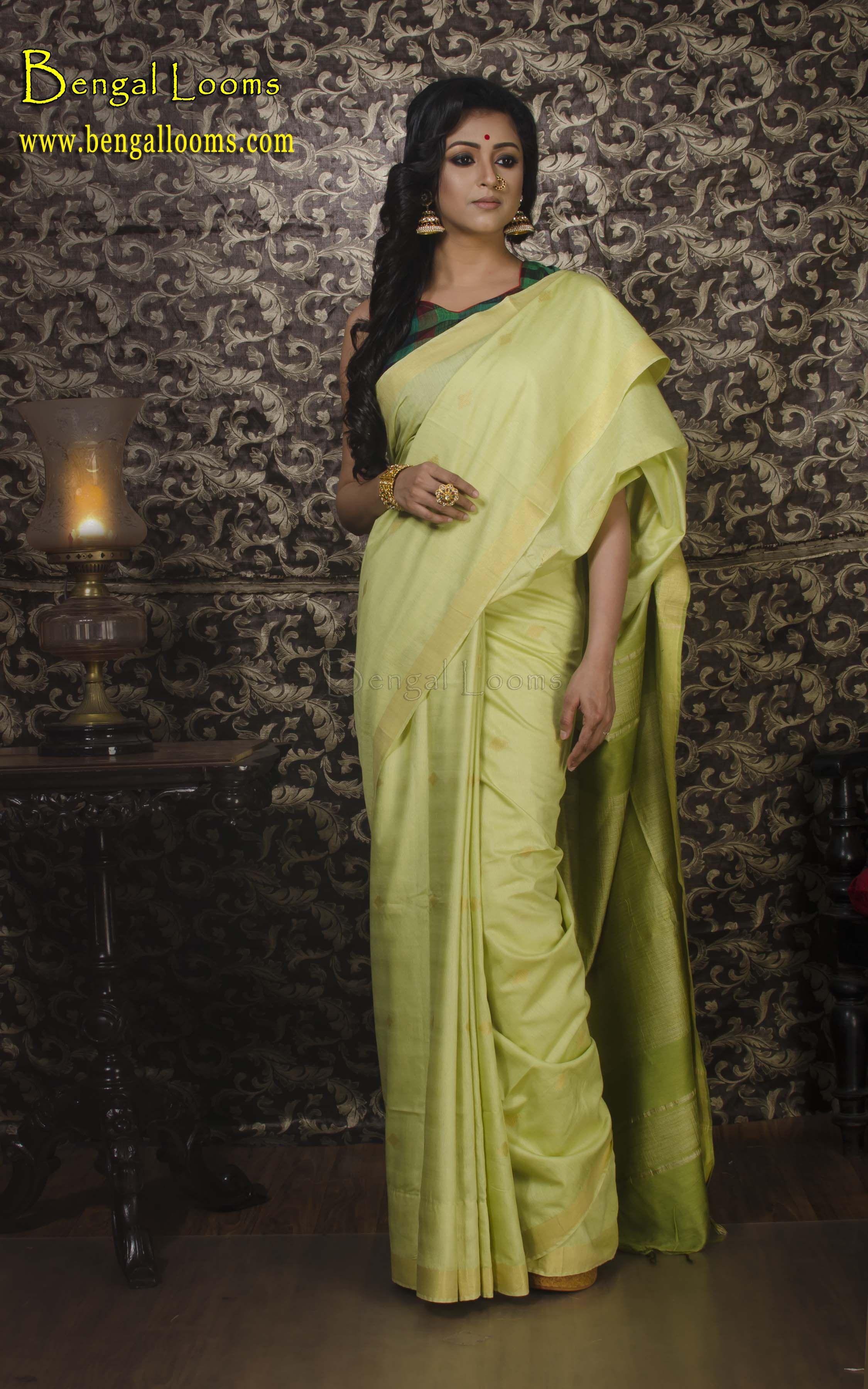 8ad7354ce2883 Muga Silk Saree in Light Green and Gold