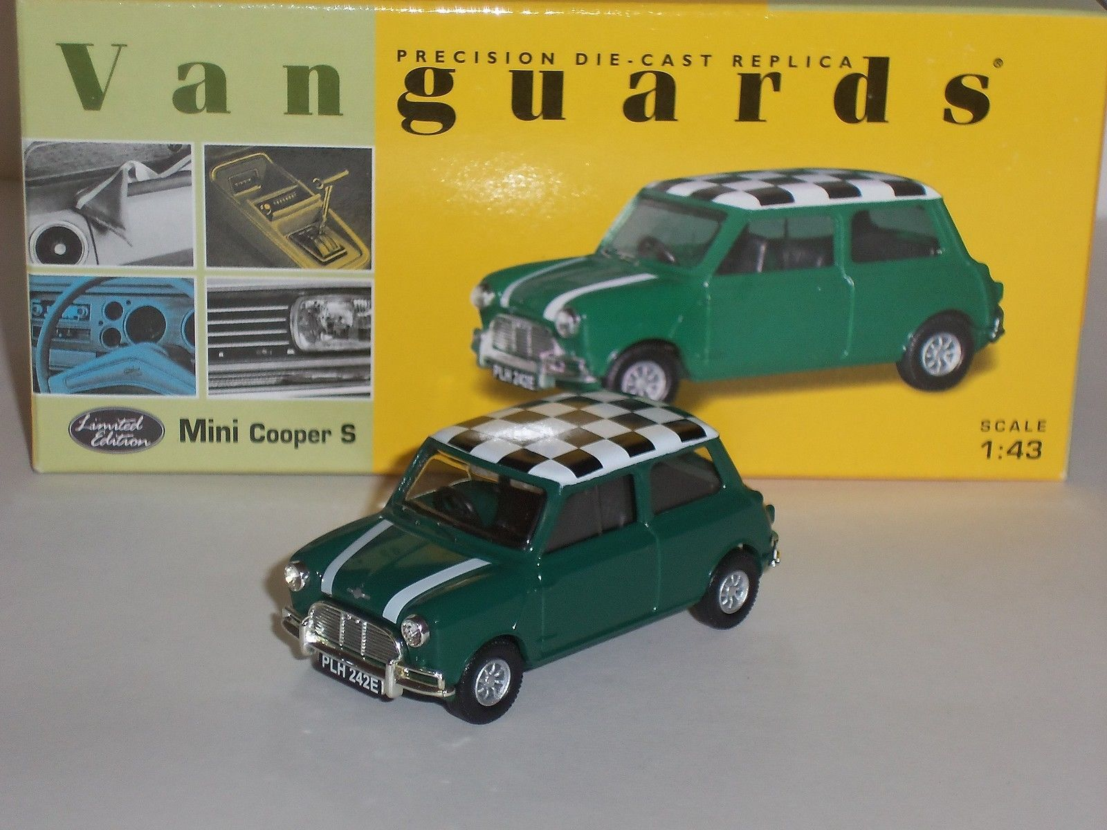 LLEDO VA02511 VANGUARDS MINI COOPER S GREEN CHECKERED ROOF DIECAST ...
