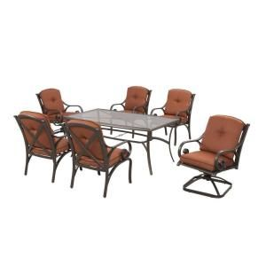 Hampton Bay Southwicke 7 Piece Glass Top Patio Dining Set With Red  Cushions XSC