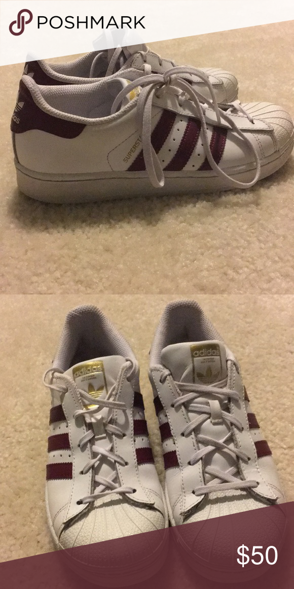 Adidas superstars maroon red size 3 Addis superstars Size  3 Did not fit  very ff0469519199