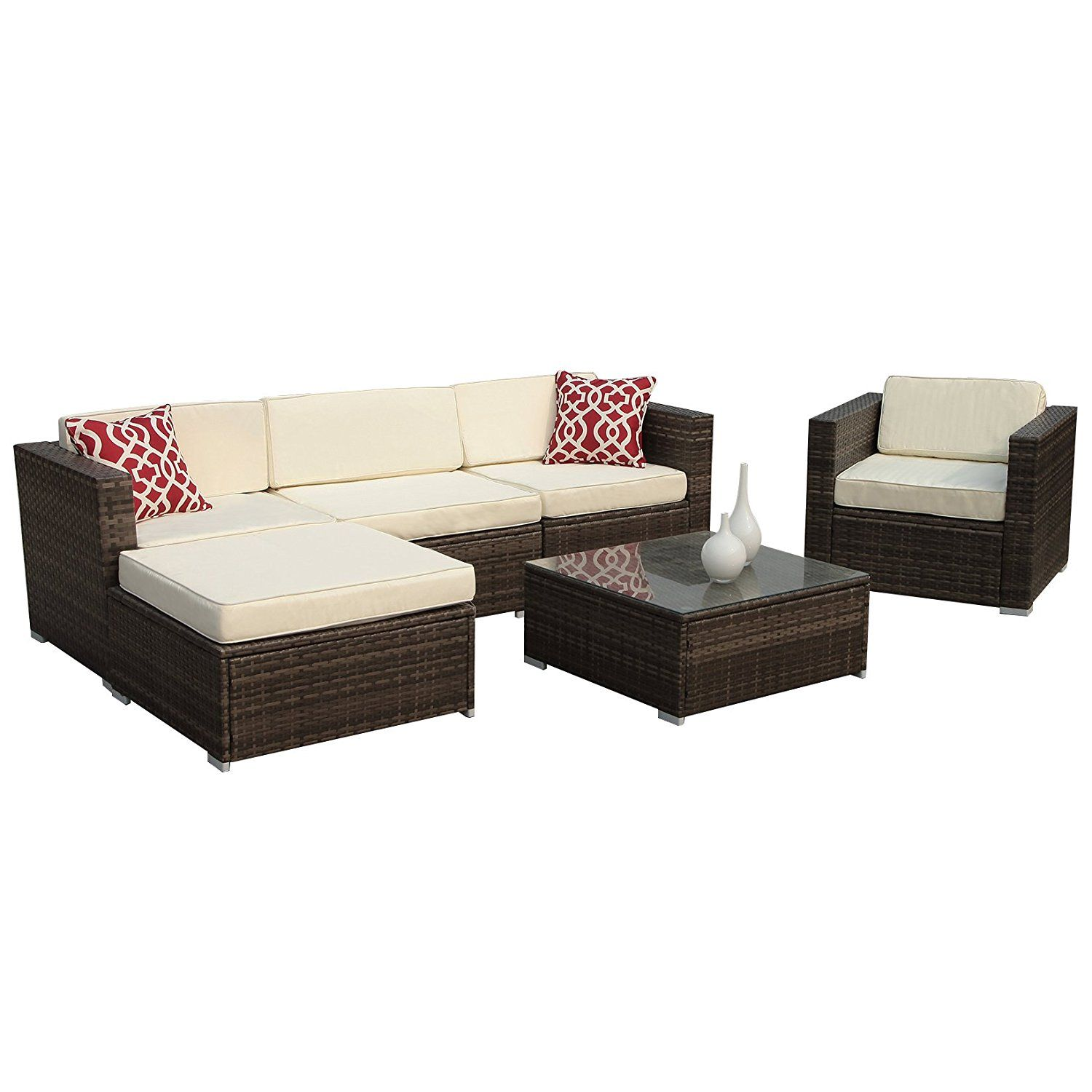 Amazon Com Patioroma 6pc Outdoor Rattan Sectional Furniture Set