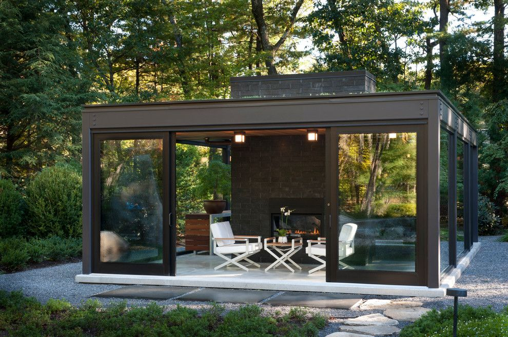 magnificent Glass House Patio Modern design ideas with brick