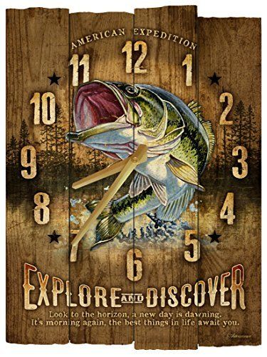 American expedition largemouth bass wooden wall clock american bass clock expedition largemouth rusticwallclock wall wooden the rustic clock