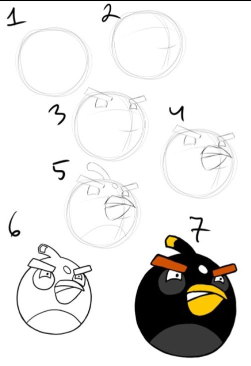 Draw the black angry bird | Drawing | Pinterest | Angry birds, Bird ...