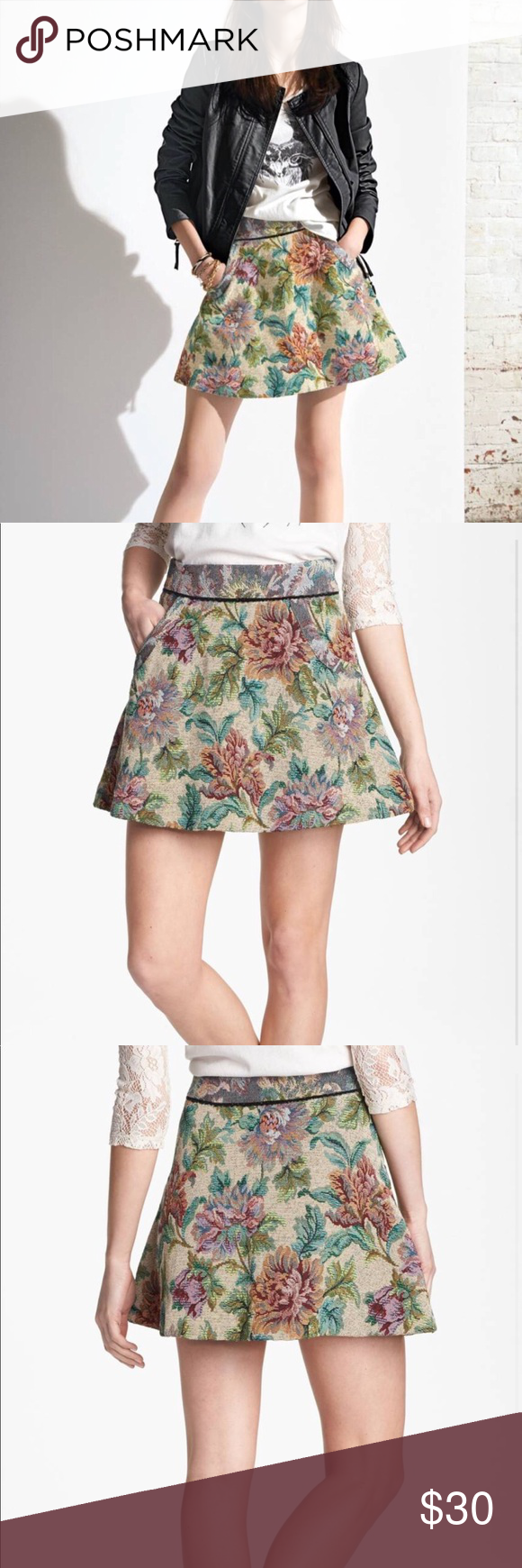 bc10fed44 Free People Floral Tapestry Mini Skirt Sz 4 EUC • Free People • Floral  tapestry mini