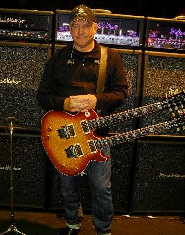 Alex Lifeson Seen With Prototype Les Paul Axcess Double Neck In Ca