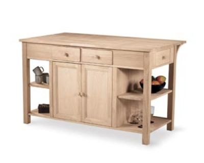 Parawood Super Kitchen Island W Breakfast Bar Built Unfinished Furniture Real Solid Wood