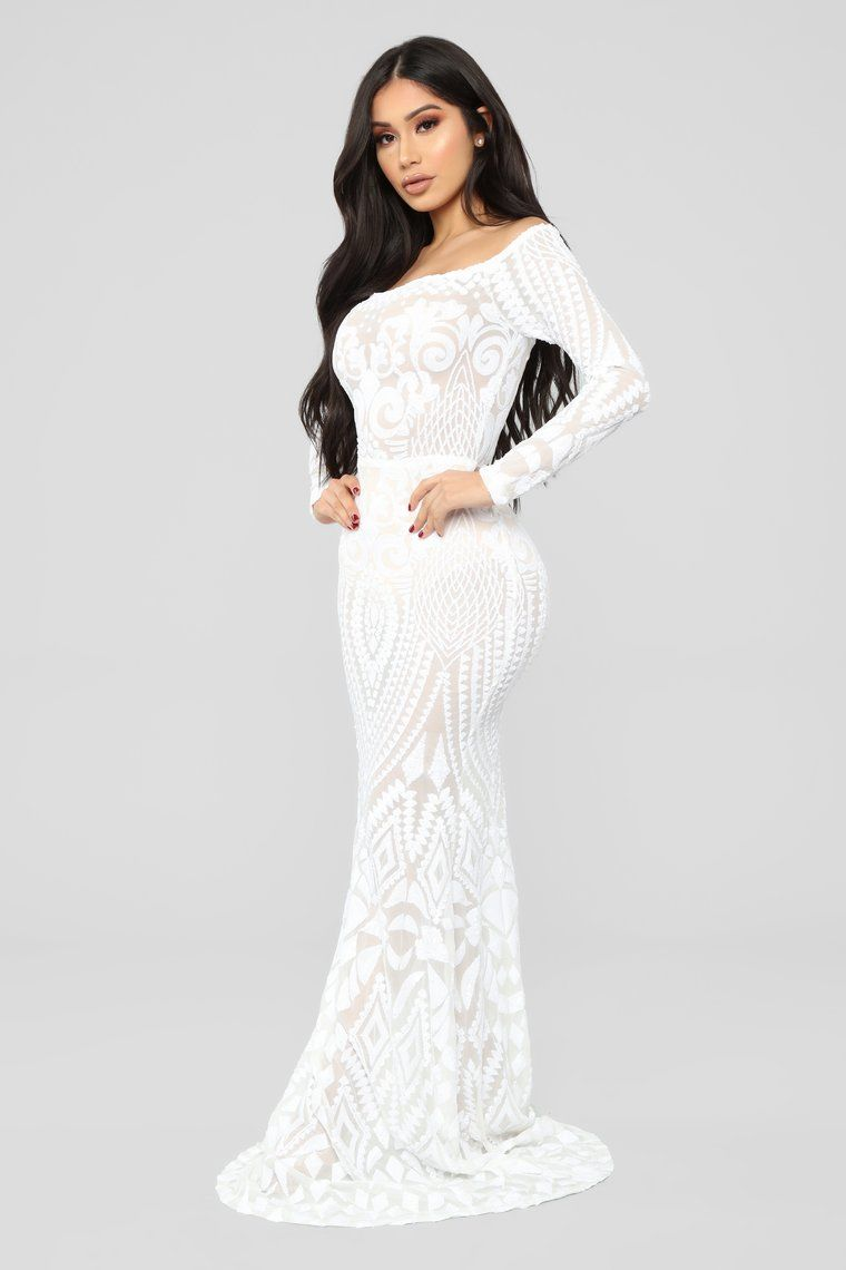 1fc0b4638f6 Make A Statement Sequin Gown - Off White in 2019