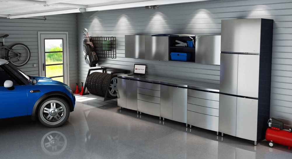Good Buy Or Build Garage Cabinet?: Silver Garage Cabinet Design With Blue Car  And Light Wall ~ Garage Inspiration