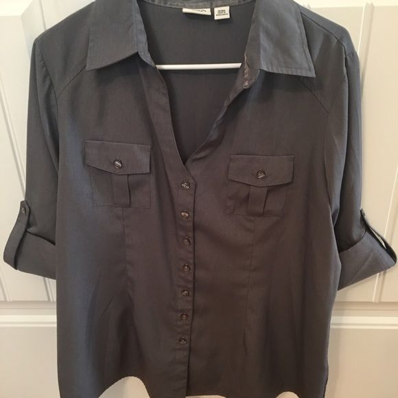 Cato shirt Gray button up blouse, quarter length sleeve, size 14/16W Cato Tops Button Down Shirts