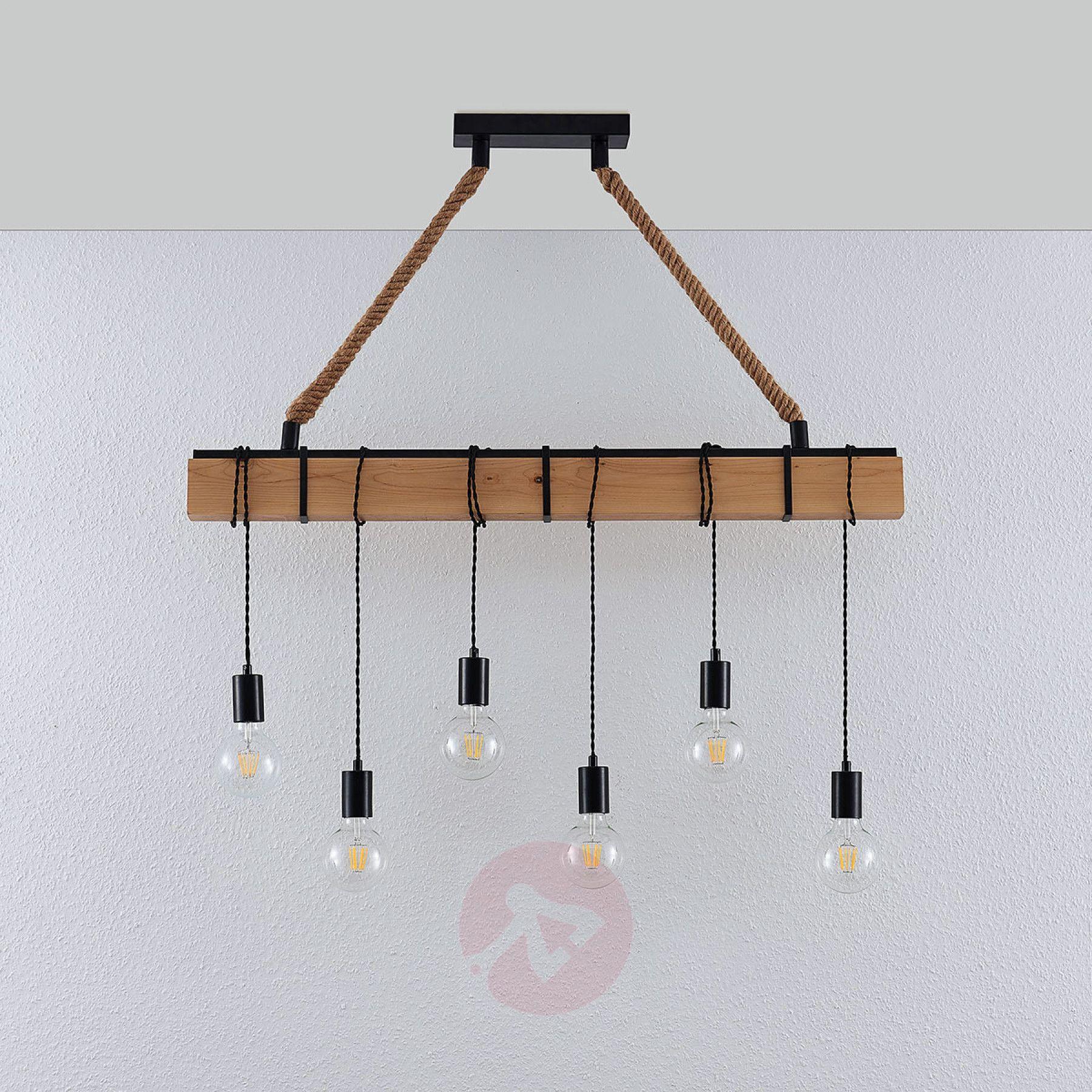 Luminaire Pour Plafond Bas Avec Poutre suspension linéaire cintia avec bois, à 6 lampes de