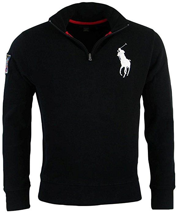 Polo Ralph Lauren Mens French Rib Big Pony Logo Pullover - S - Black ... 374240b4007