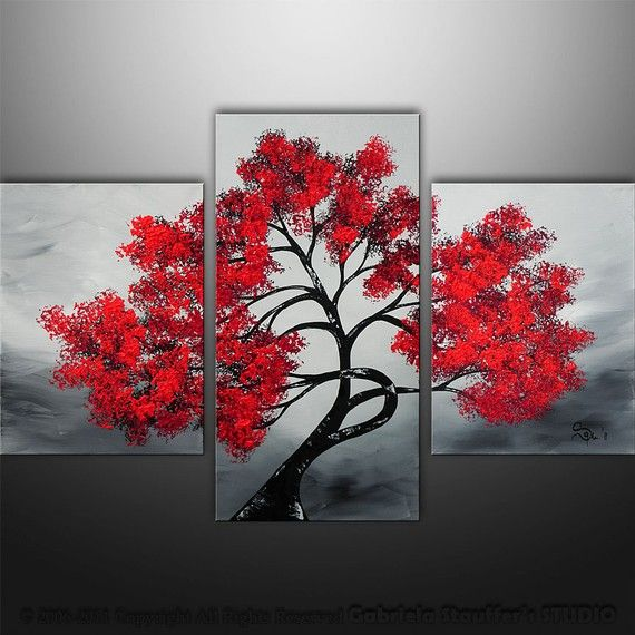 Abstract modern landscape asian tree art by gabriela 36x24 black white red