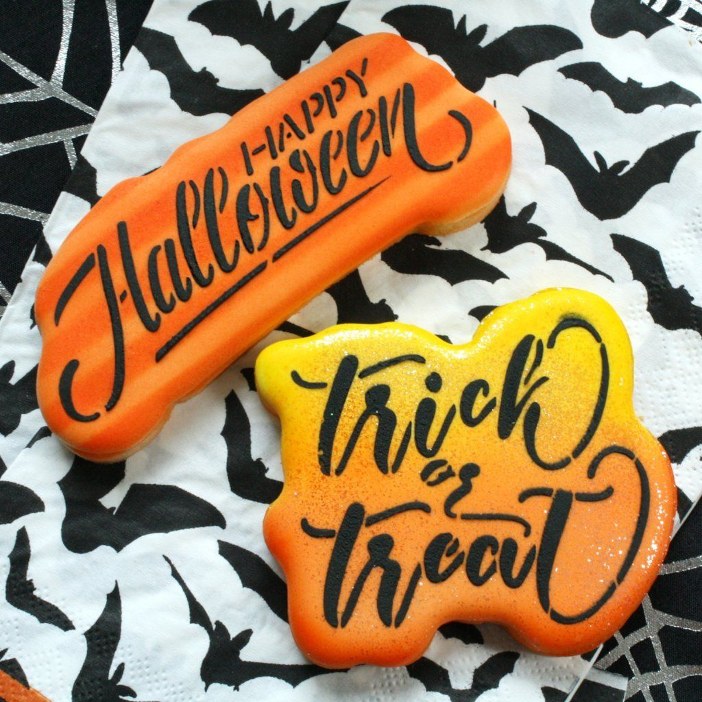 Trick or Treat Script Stencil | Happy halloween quotes ...