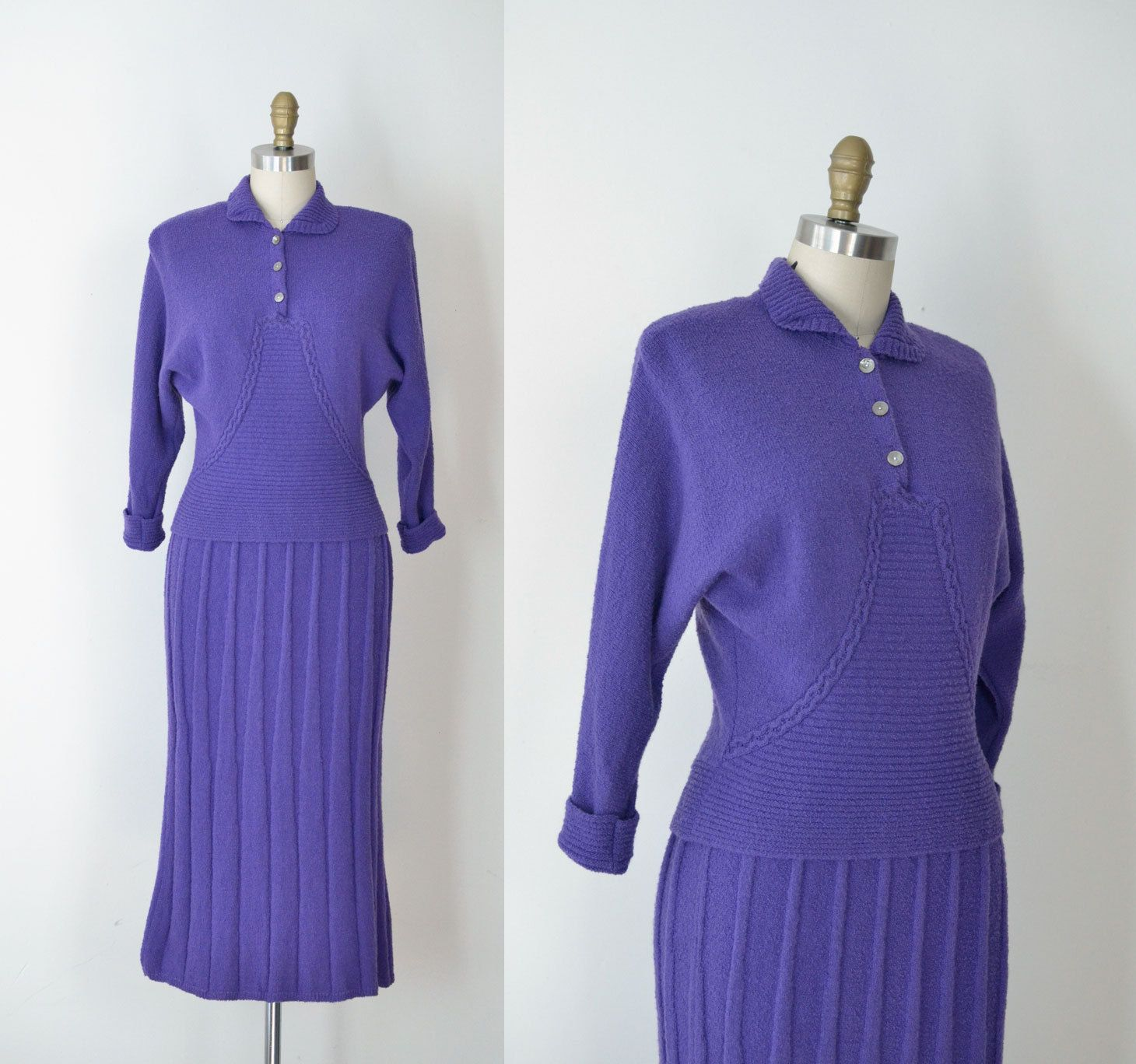 1940s Wool Knit Skirt Suit / 40s 50s Purple Sweater Dress