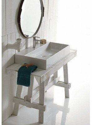 Mobile da bagno cavalletto per lavabo d 39 appoggio 90x50x75 for Consolle per lavabo da appoggio
