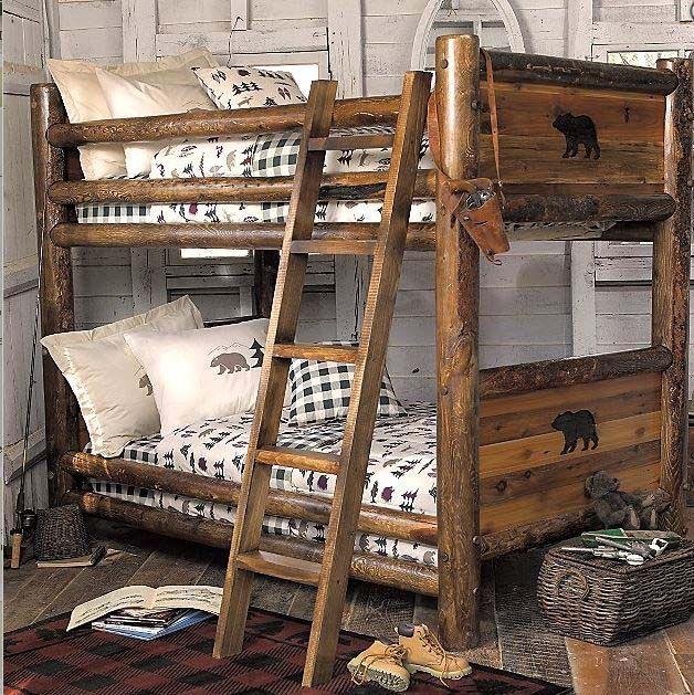Log Bed Bedroom Ideas Bedroom Carpet Uk Vintage Bedroom Art White Bedroom Chairs: Kids Cabin Theme Bedrooms & Rustic Decor In 2019