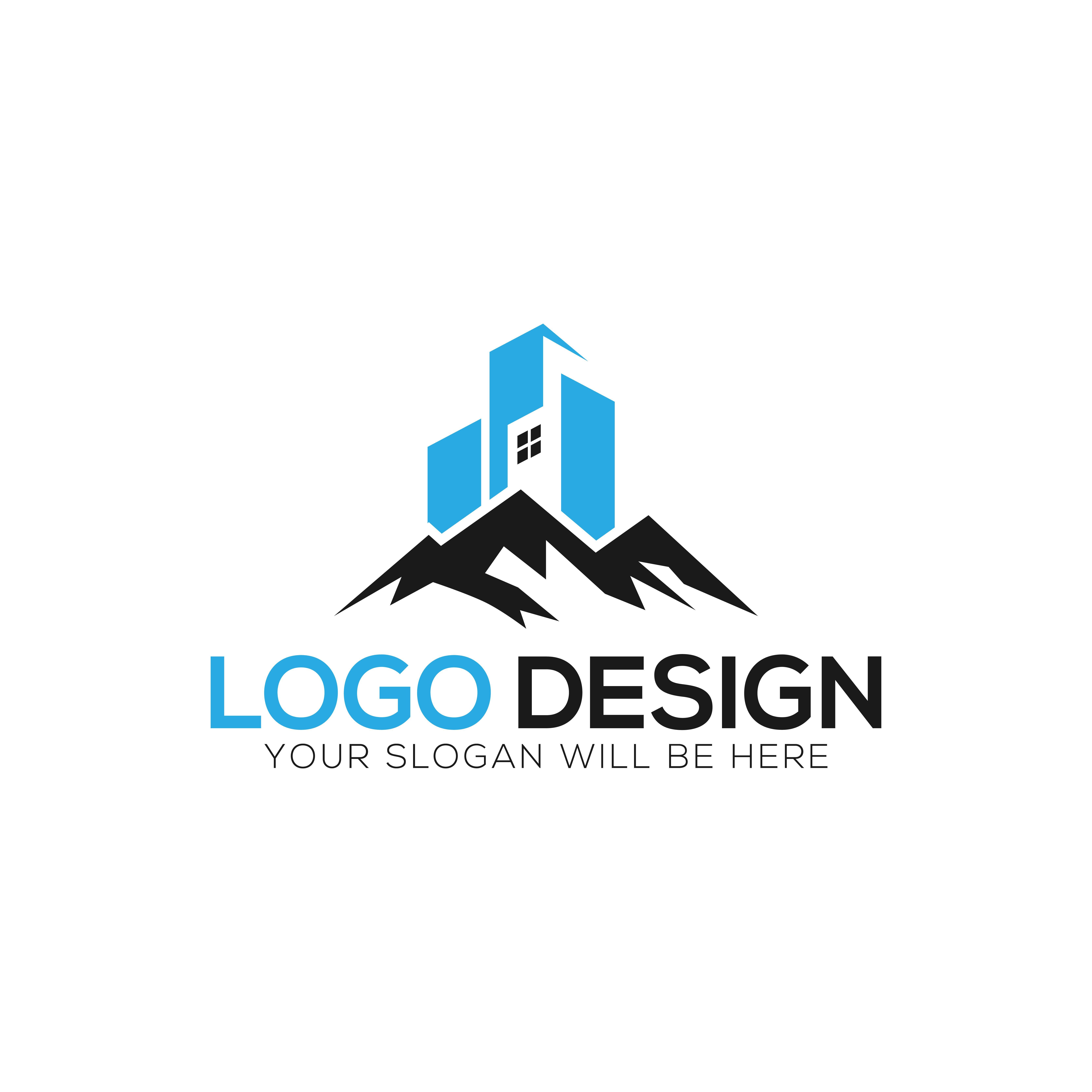 Building and Mountain Logo Design Vector Illustration