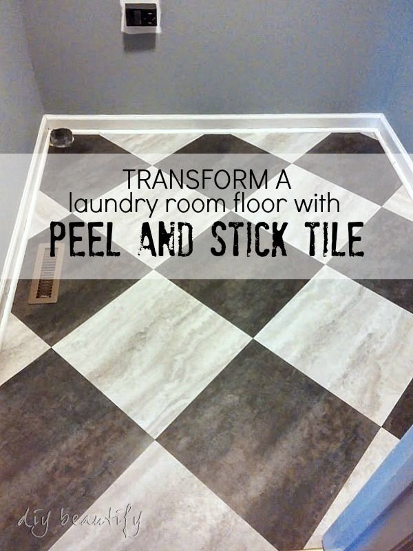 transform a laundry room floor with peel and stick tiles laundry rooms laundry and budgeting. Black Bedroom Furniture Sets. Home Design Ideas