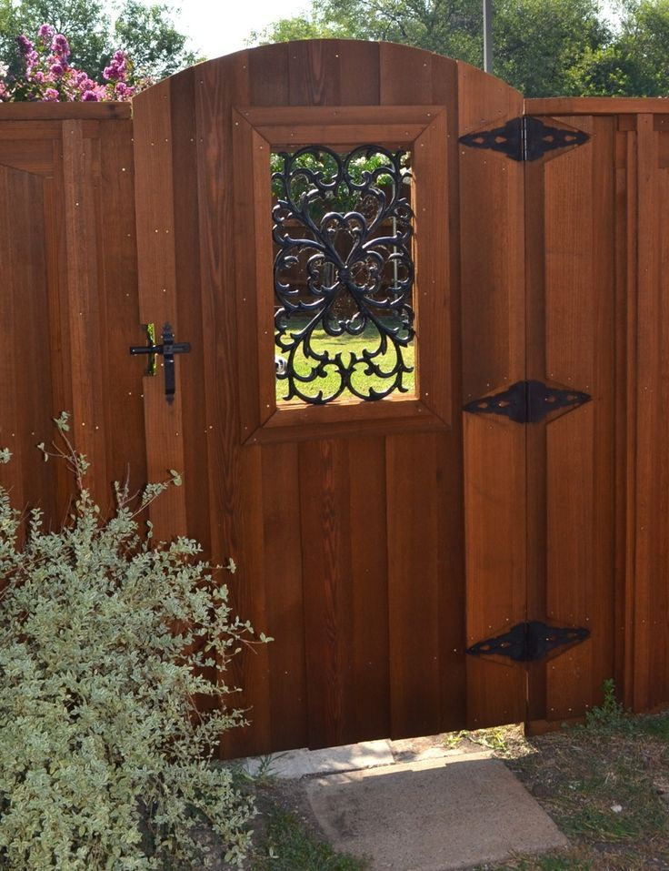 Wooden Gates With Iron Inserts Clear Cedar Arch Gate