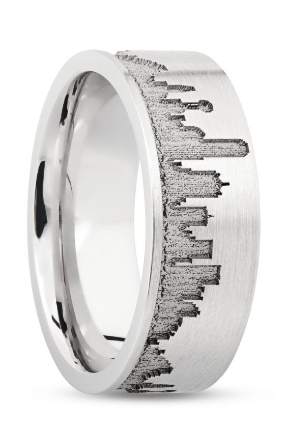 Cobalt Chrome Band With Laser Carving Of Dallas Skyline Mens