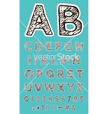 Sketch paper craft font vector by Orbita4V on VectorStock