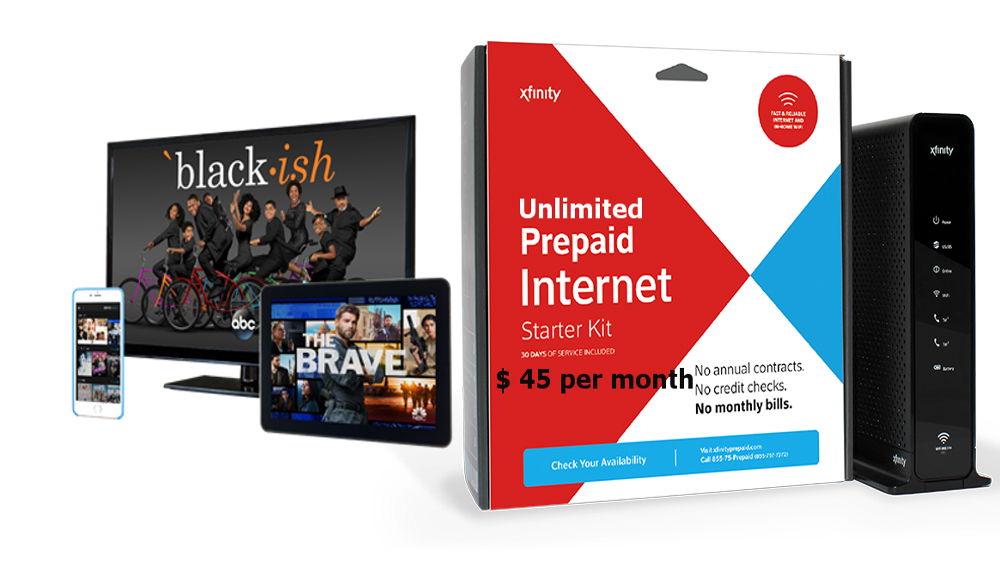 XFINITY PREPAID INTERNET PLUS TV WITH OVER 500 CHANNELS, PPV