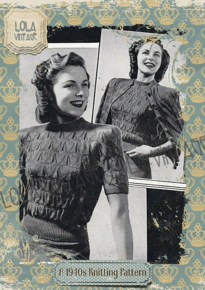 Vintage 1940s WW2 Wartime Knitting Pattern Lady\'s Twin Set Cardigan ...