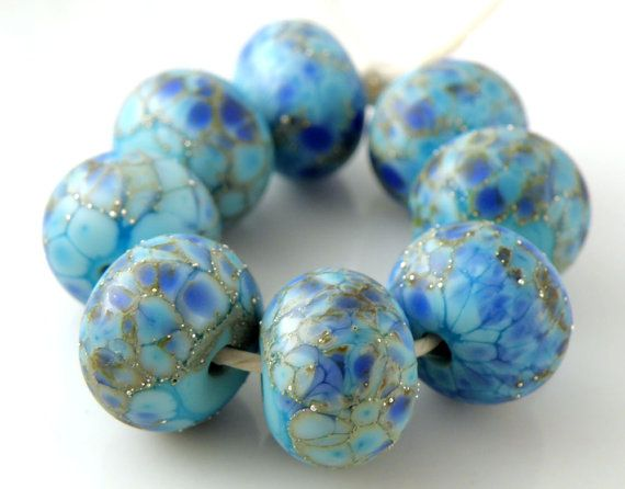 Silver lampwork blue round beads 12mm Eight beads