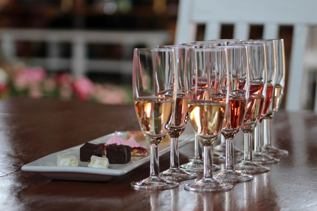 JC le Roux paired tasting at Ludwig's rose farm at the Spring Festival
