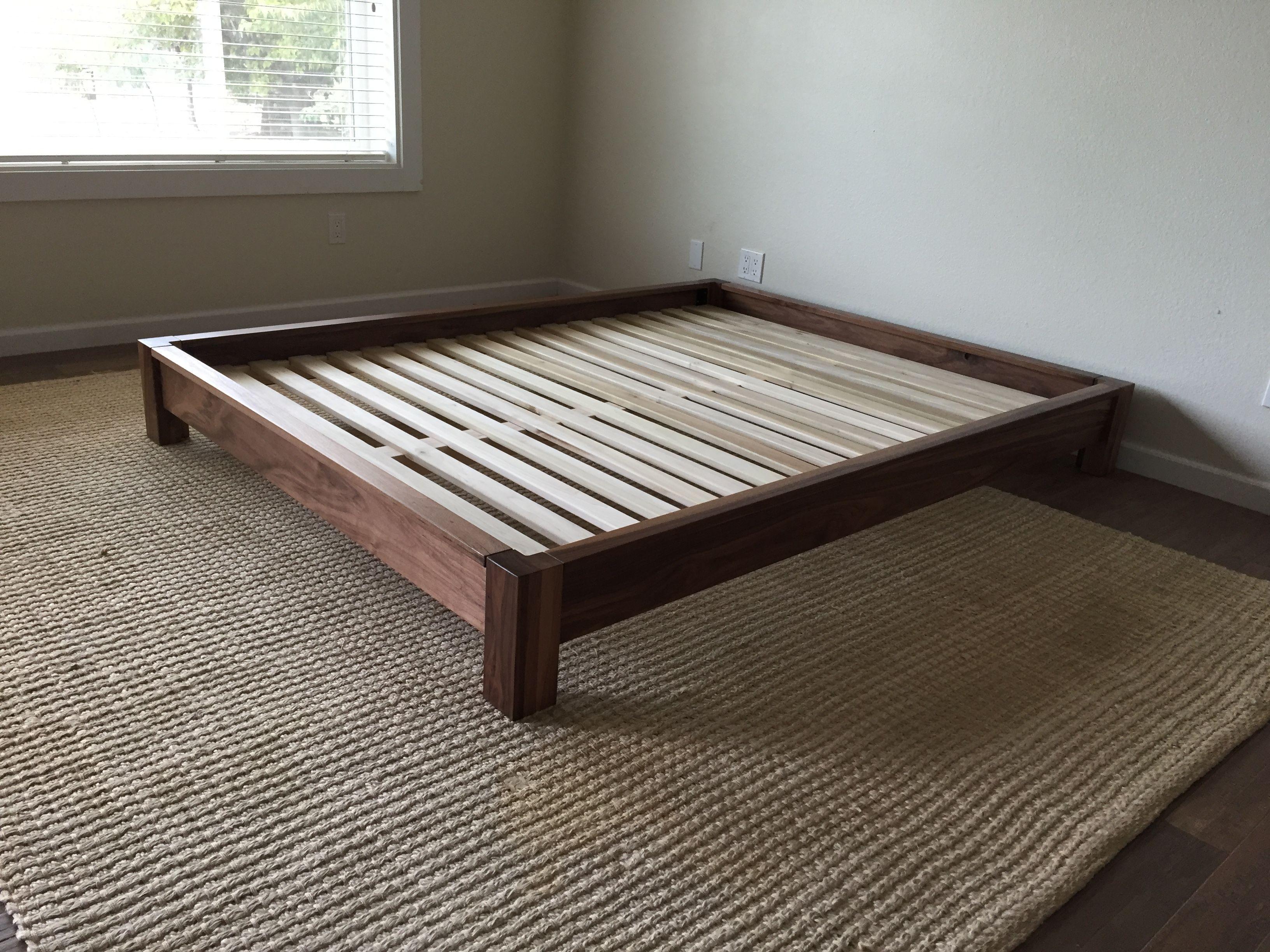 Low Profile Platform Bed In Black Walnut Twin Full Queen Etsy Hardwood Bed Platform Bed Bed Frame