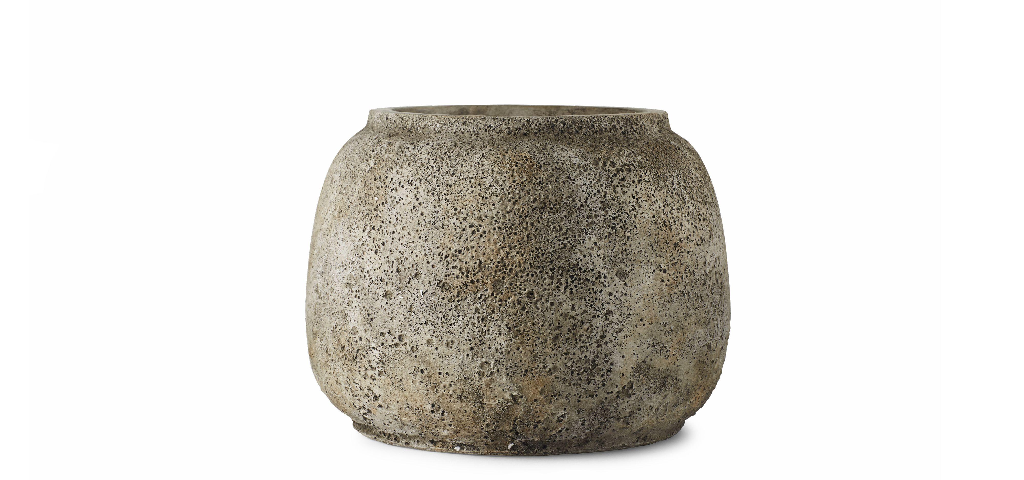 Stone wide vase in fibrecement. Designed by Bolia design team.