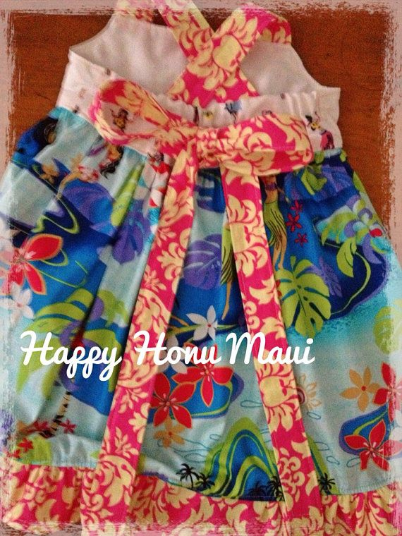 4bdccfb267a Hawaiian Girls Sundress Happy Honu Damask and Aqua by tikitales ...