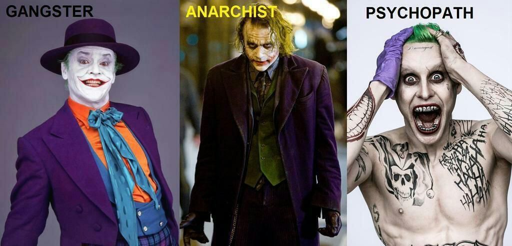 Various Jokers. The last one is Jared Leto in Suicide Squad. No one can beat Heath Ledger's Joker, but I bet he'll still be good.