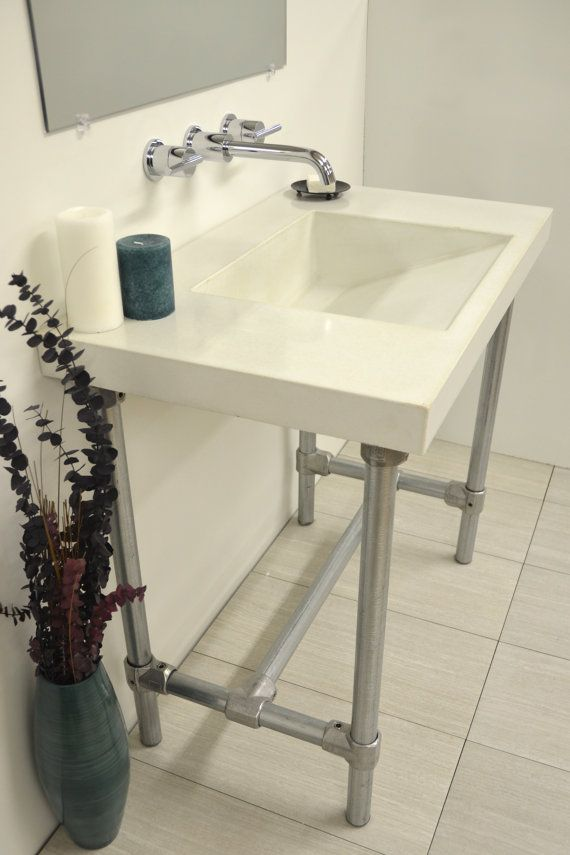 Concrete Ramp Drain Vanity Top Sink By Artifactconcrete On Etsy 735 53 Modern Houses Interior Sink Furniture Decor