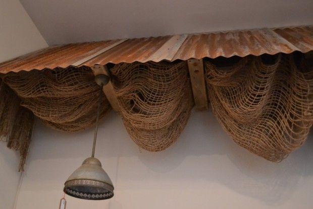 Antique Shop Dis Lay With Burlap Decorative Corrugated