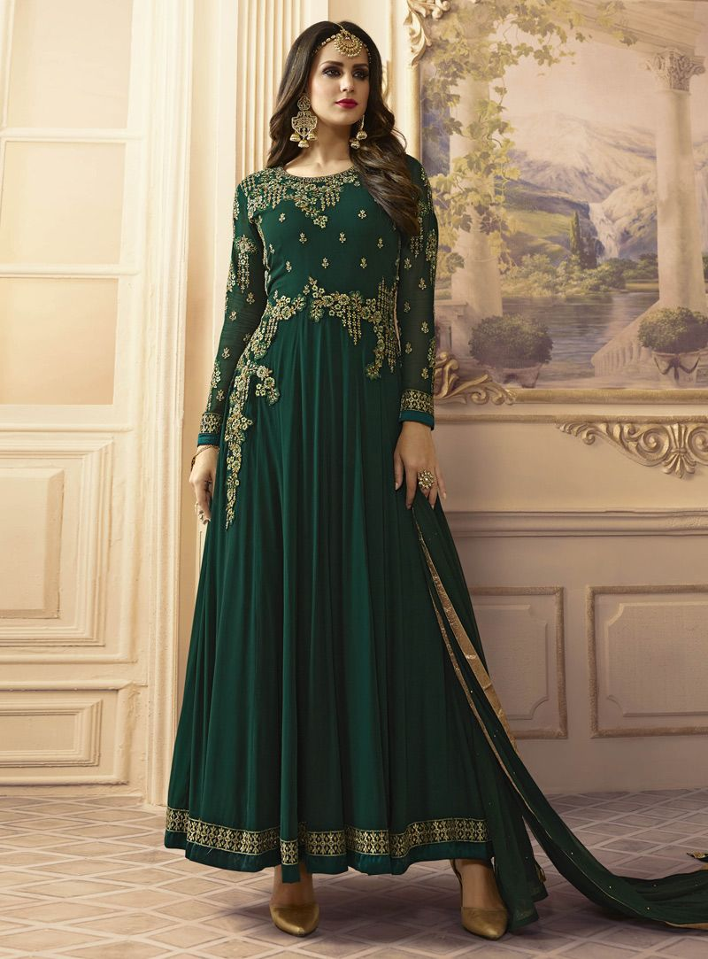 Green georgette long anarkali suit style pinterest