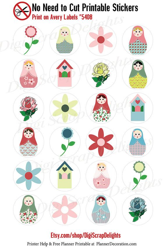 Russian Dolls Matryoshka Printable Planner Stickers Nested Dolls