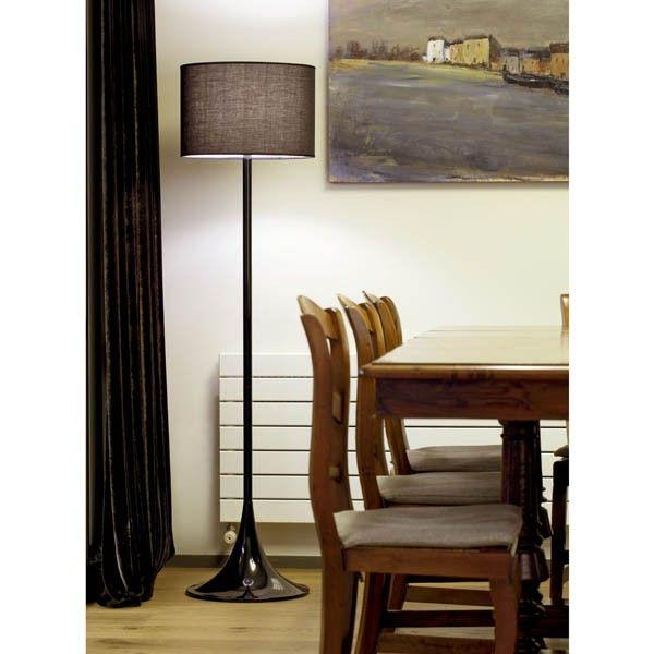 lmpara de pie para saln de estilo moderno y pantalla textil negra una forma sencilla