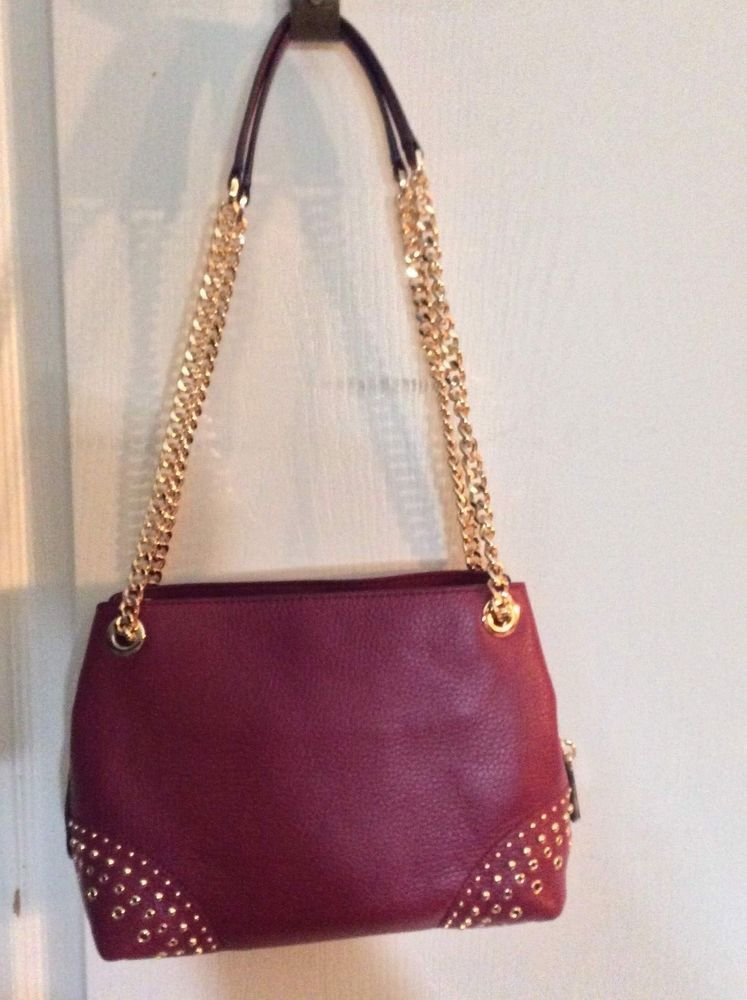 dd44b5f9a99 NEW Michael Kors Jet Set Leather Gold Studded MD Chain Messenger Mulberry  Purse  fashion  clothing  shoes  accessories  womensbagshandbags (ebay link)